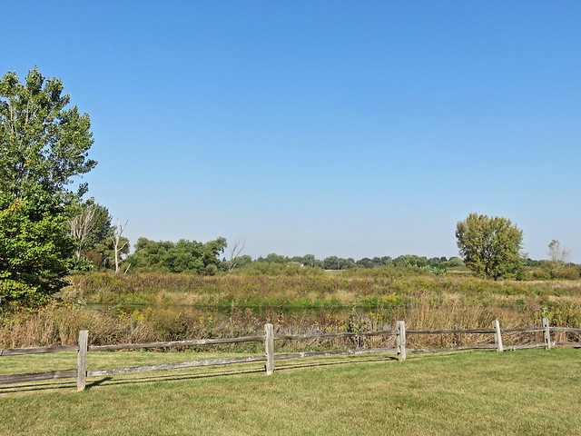 Jones Meadow Park pond and fence 20170924