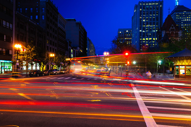 Light Trails at Boylston and Dartmouth - Copley Square, Boston