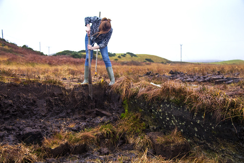 Peat being hand-cut with a tusker on Islay