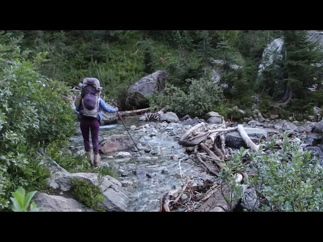 5301 Video of Vicki crossing Phelps Creek in Upper Spider Meadow