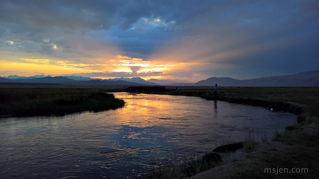 Fishing the Owens River at Sunset