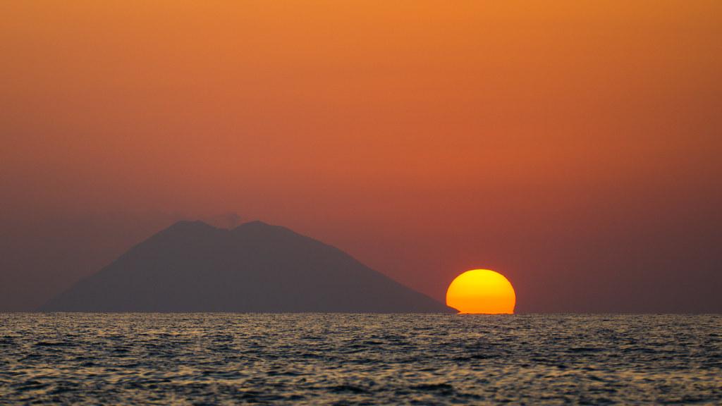 sunset over Stromboli