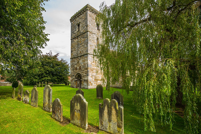 The Saxon tower of Hovingham Church of All Saints