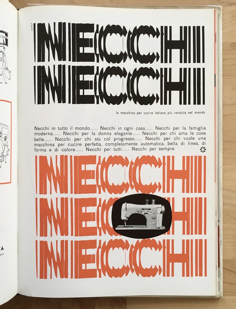 Ad for Necchi sewing machines by Franco Grignani, c 1959