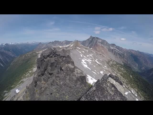 3611 GoPro video showing the steep west face of Cloudy Peak, looking down into the South Fork Agnes Creek valley