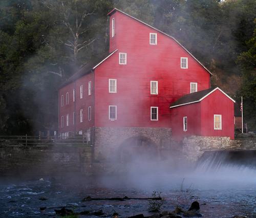 mill redmill historic nj southbranchoftheraritanriver architecture fog mist dawn landscape clinton newjersey unitedstates us