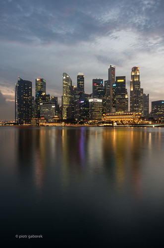singapore city skyline skyscrapers sunset night nightfall marina bay water reflections sky clouds asia asian business pietkagab photography pentax piotrgaborek pentaxk5ii architecture travel trip tourism sightseeing