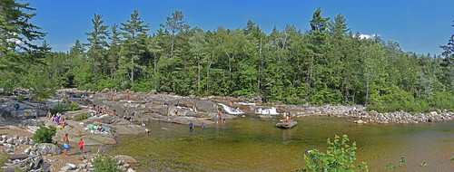 newhampshire river people panorama water landscape outdoors nature swimming bathing suits recreation rocks trees green families children adults kancamagus