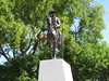 Mountie on a horse statue at the confluence of the Elbow and Bow rivers in Calgary, Canada