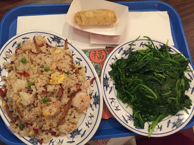 Hb's not really fond of Chinese food but I'm craving for spicy tofu and shrimp in lobster sauce so we ended up in Hunan Chinese Gourmet, this stir fried spinach is really good though and the yang chow brown fried rice is ok, too! #tnxhb #weekendlunchout