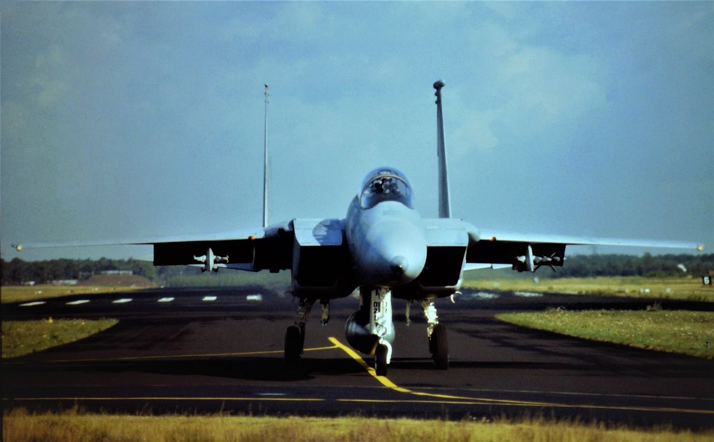 F-15C Eagle 79-0021/ CR from 32nd Tactical-Fighter-Squadron/ United-States-Air-Forces-In-Europe is taxiing along the famous