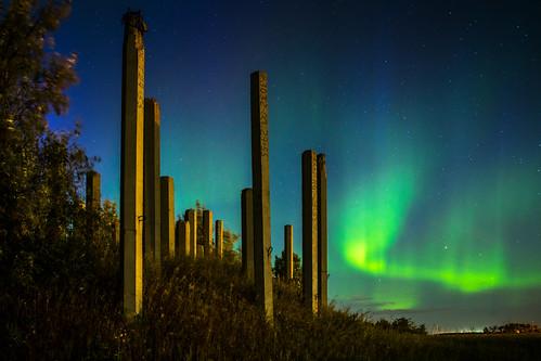 architecture auroraborealis building concrete landscape manitoba northernlights winnipeg rosser canada ca