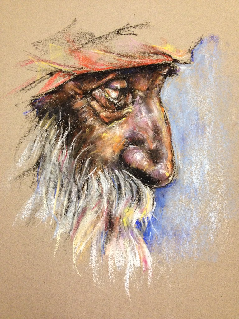 Sikh man drawn in profile with soft pastel. Based on one of Flickr member Angelo Zimna's beautiful photos.