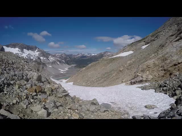 4843 GoPro video panorama from just north of Spider Gap looking back at the snowfield we just climbed