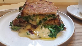 Beer Braised Onions, Kale and Cheddar Toastie