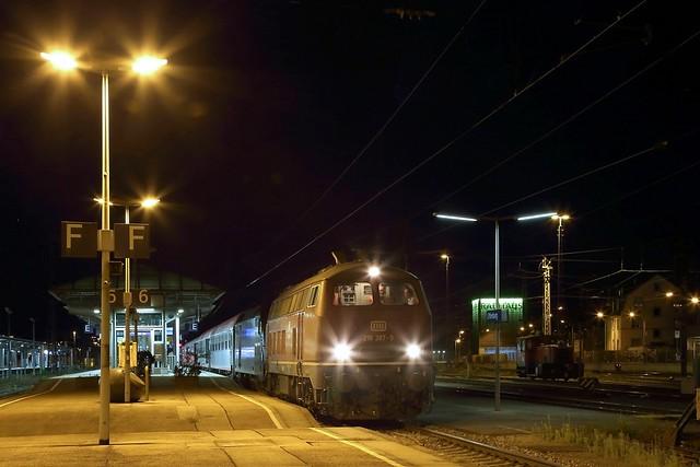 218 387 mit BTE-Autoreisezug in Offenburg