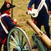 Disparo de un cañón de la Artillería española de comienzos del siglo XIX