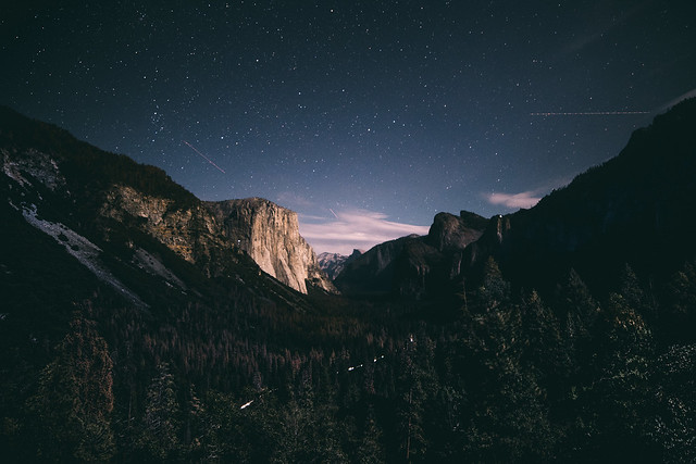 Half Dome at night