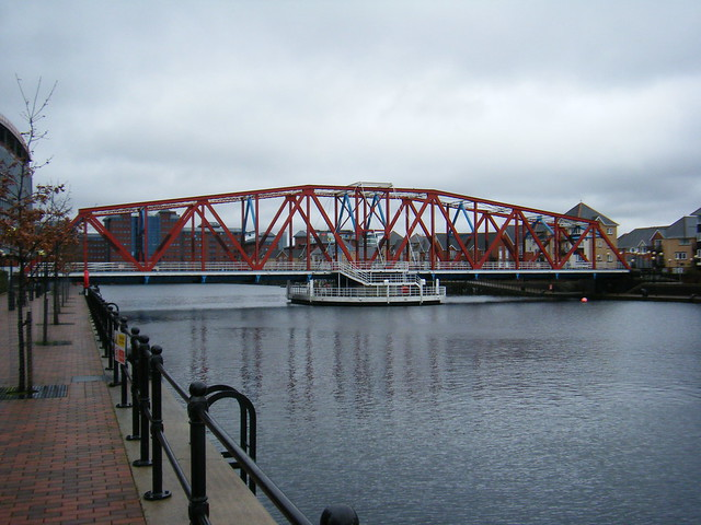 Detroit Bridge over Salford Quays, Trafford Park, Manchester - originally a Railway Swing Bridge, crossing the Manchester Ship Canal