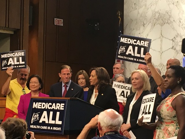 Sen. Kamala Harris (D-Calif.) speaks at the introduction of the Medicare for All Act of 2017 on Sept. 13, 2017