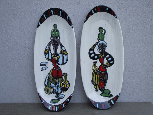 Vintage 1950's 60's Italian Pottery Female Market Sellers Wall Plaques Mid Century Modern