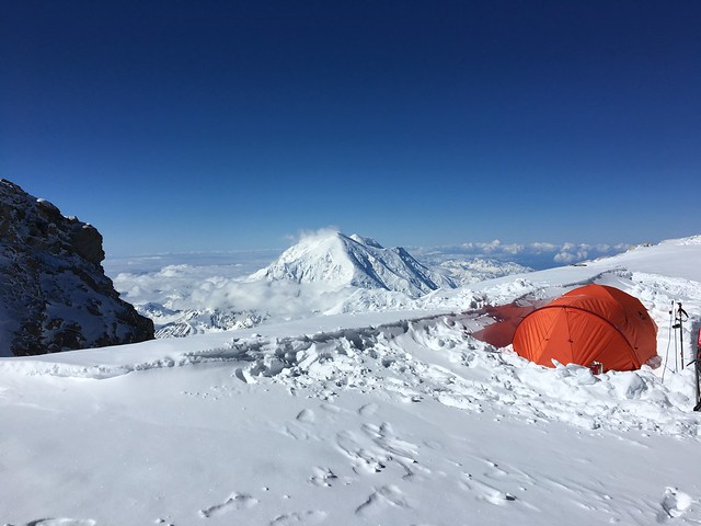 Looking at Mt Foraker (17,400 ft) before leaving Camp 5 (17,200 ft - 5243m) on Summit day (in Explore 2017-09-03 , Ranked #290)