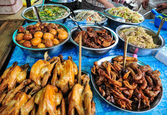 Cambodian cuisine - local food at rural market