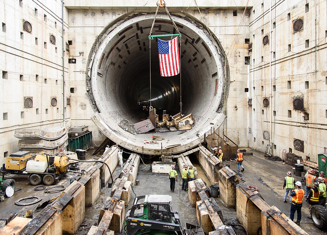 Final piece of the tunneling machine removed from tunnel