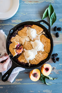 blackberry peach cobbler with ginger-spice biscuits | by Husbands That Cook