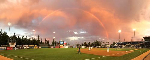 baseball game rainbow loanmartfield ranchocucamongaquakes field clouds sunset dusk quakes california ca inlandempire ranchocucamonga umpire minorleague grass panorama djpeters