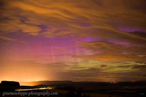 aurora northernlights merrydancers night sky cloud huntly aberdeenshire scotland