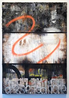 Zavier Ellis 'This Deathly Love', 2017 Oil, acrylic, spray paint, emulsion, gloss, collage on canvas 140x100cm