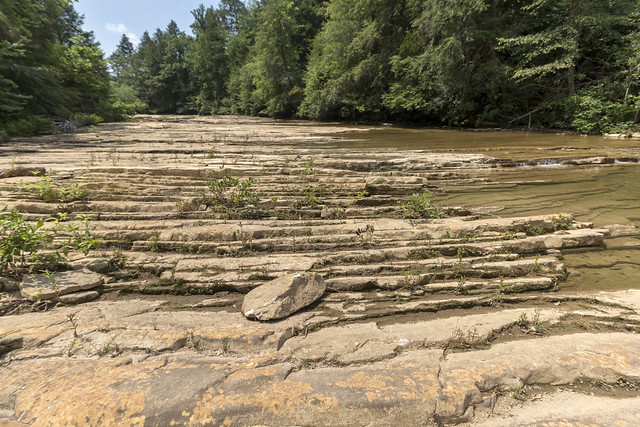 Crossbedding in Pennsylvanian sandstone, East Fork Obey River, Overton County, Tennessee