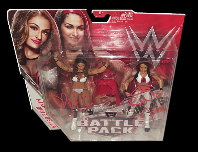 The Bella Twins (Brie & Nikki) Autographed WWE Mattel Battle Pack Series 43 Figures