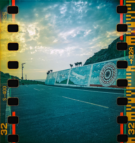 blackbird fly blackbirdfly bbf 35mm 135film film perfs perforations analog analogue jaredyeh hiphopmilk fuji fujifilm superia xtra taiwan lanyu orchid island pongso no tao yami 蘭嶼 yayo goats wall goat summer sky road street clouds expired yellow sunset dusk gathering