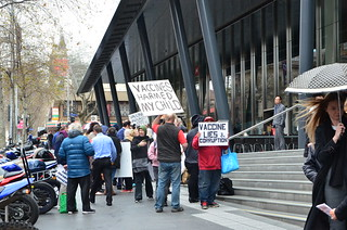 Crazy anti-vaxxers protesting outside 111 Bourke Street, Melbourne | by avlxyz