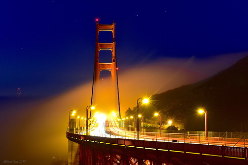 goldengatebridge sanfrancisco sunrise lowfog foginsf cityscape longexposure bay ngc bayarea wave ocean shore seaside coast california westcoast pacificocean landscape outdoor clouds sky water rocks mountains rollinghills sea cliff nature morning nightphotography nightscene summer