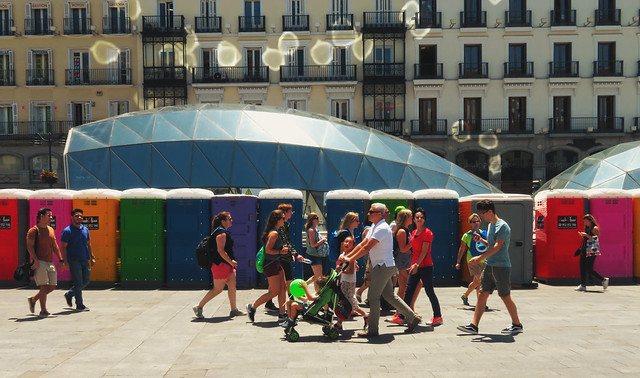 rainbow colored porta potties at Sol, Madrid (2017)