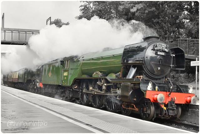 60103 Flying Scotsman & 46100 Royal Scot passing through Keynsham in the rain 13th Sept