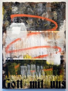 Zavier Ellis 'Gott mit uns', 2017 Oil, acrylic, spray paint, emulsion, gloss, collage on canvas 140x100cm