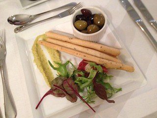 Houmus, olives and grissini breadsticks at Odney Club