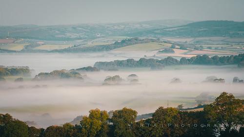 rtaphotography mist fog morning sunrise dawn landscape devon southdevon early sidelight trees land inversion