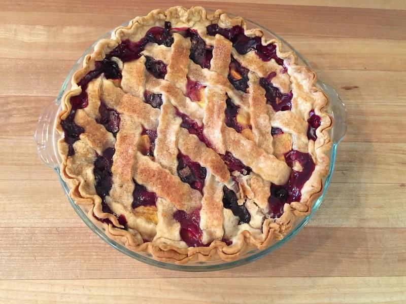 delicious blueberry peach pie