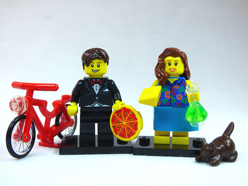 Brick Yourself Custom Lego Figure  Couple with Pizza Cheese Bicycle Beaker and Cat | by BrickManDan