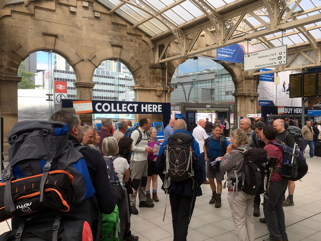 Gathering on Sheffield station Sheffield to Bamford walk