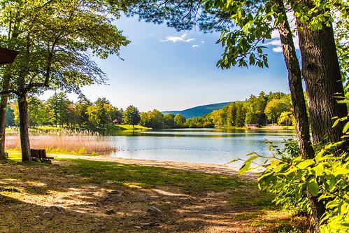 massachusetts lake water camping landscape foliage berkshires