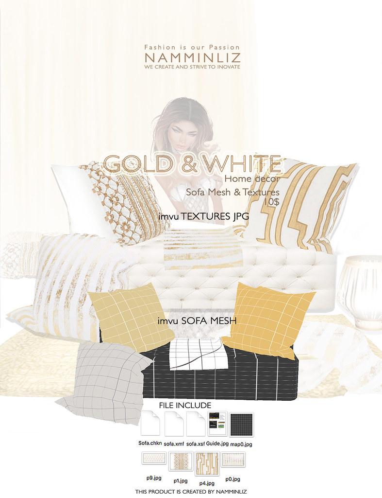 Gold & White imvu Full mesh texture JPG, XSF, XMF, CHKN fi