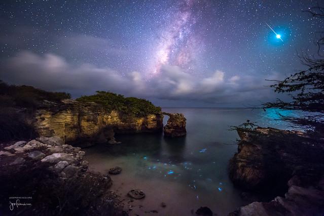 The Milky Way + bright meteor + bioluminescence