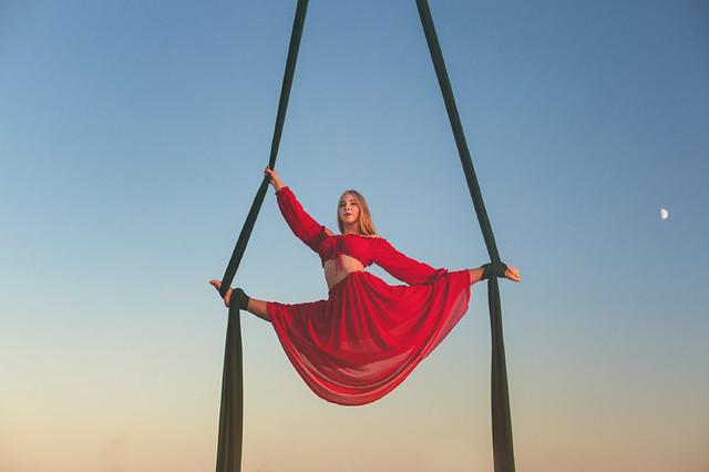 Anti-gravity yoga on the hammock.