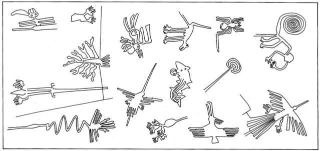 Algunos de los dibujos más característicos de las Líneas de Nazca que se pueden ver en Perú